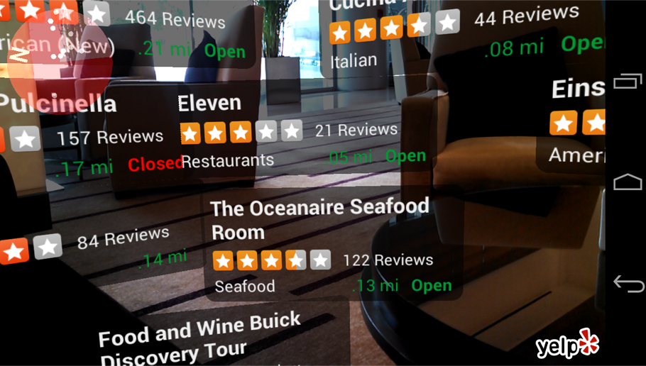 Yelp Monocle - location-based Augmented Reality